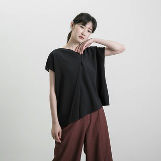 Future Future Asymmetrical Pleated Top_8SF001_Black