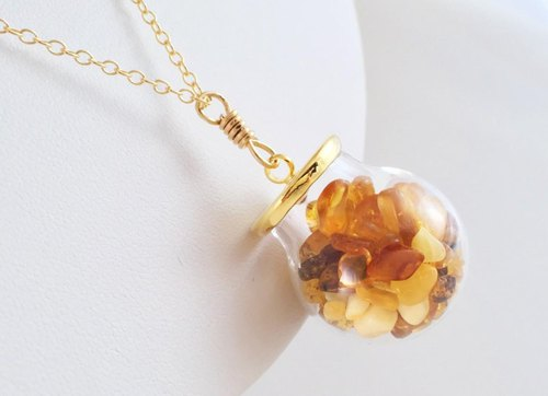 Jewel Box ◇ Baltic marine amber gemstone K14GF pendant
