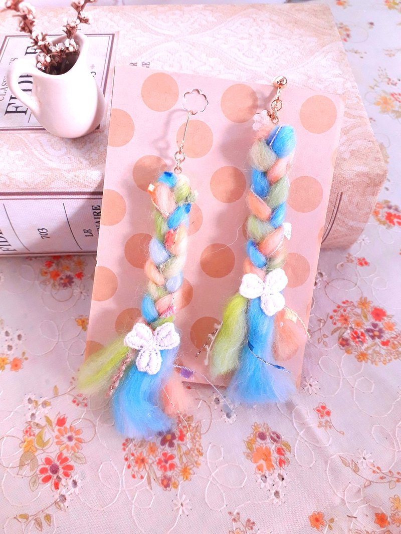 Candy color hand-knit braided braided handle earrings earrings * b D143 forest dream sweet girl heart Valentine's Day gift