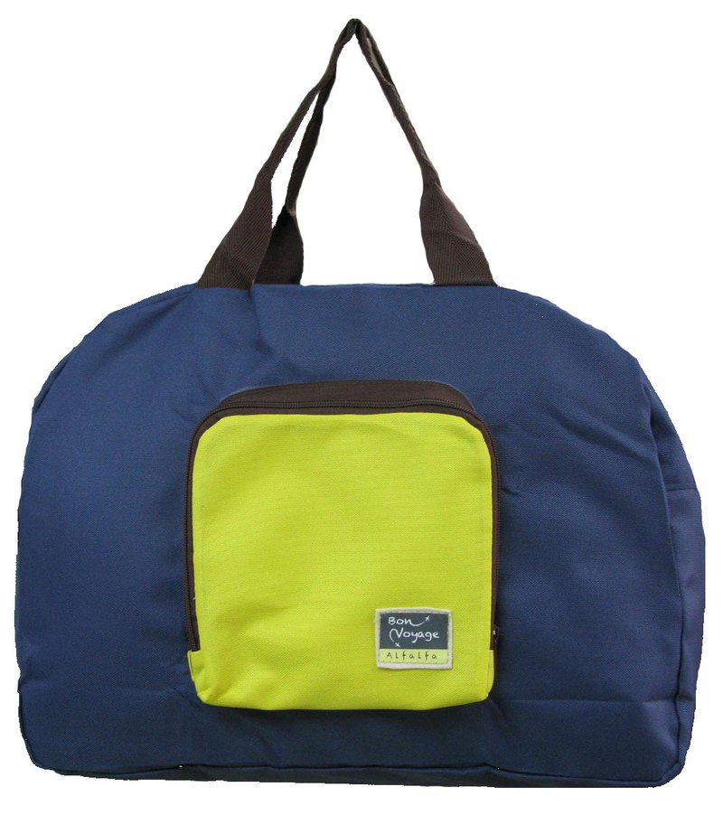 Travelholic Foldable tote Design for all shoppers - Navy Blue - Yellow