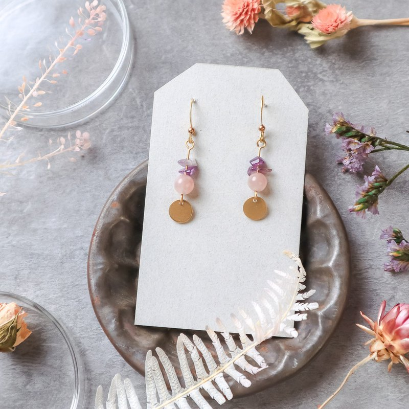 Natural Stone Geometric Brass Earrings - Dreamer