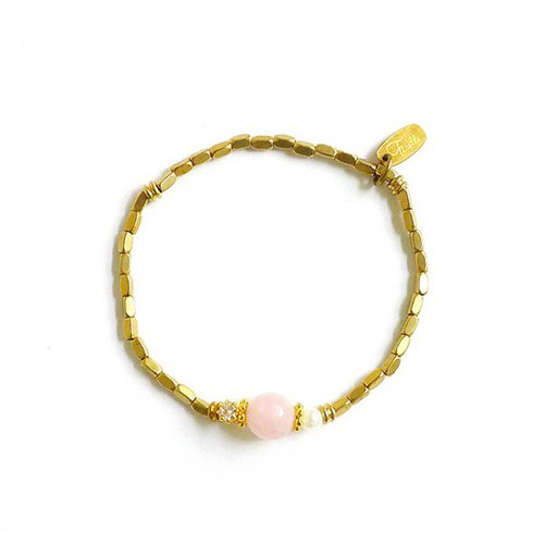 Ficelle | handmade brass natural stone bracelet | 【Powder】 John Lennon's little mistress
