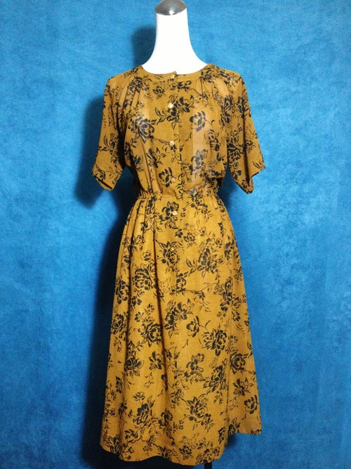 Ping-pong vintage [vintage dress / flower silhouette vintage long dress] back short-sleeved foreign VINTAGE