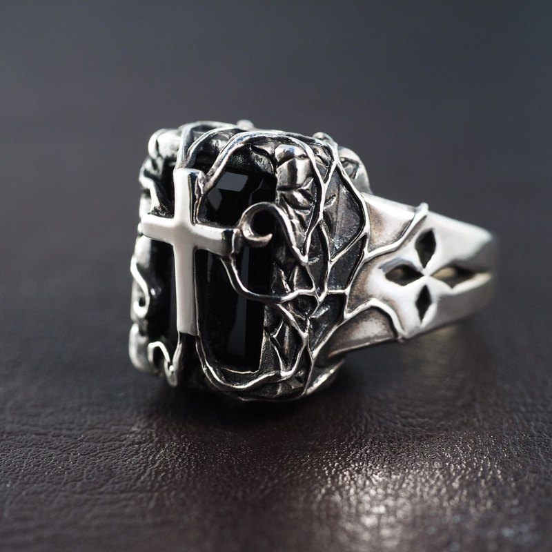 Cemetery Cross Black Agate Ring 925 Sterling Silver