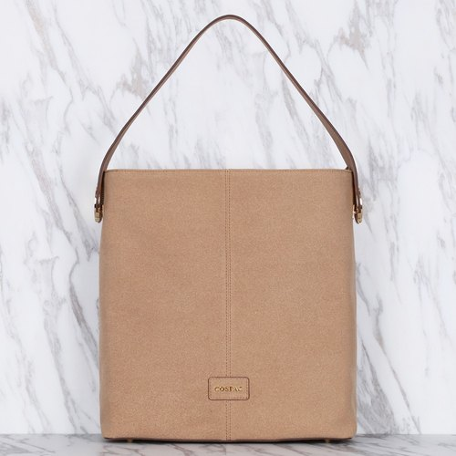 Light Brown Suedette Faux Leather Shoulder Bag