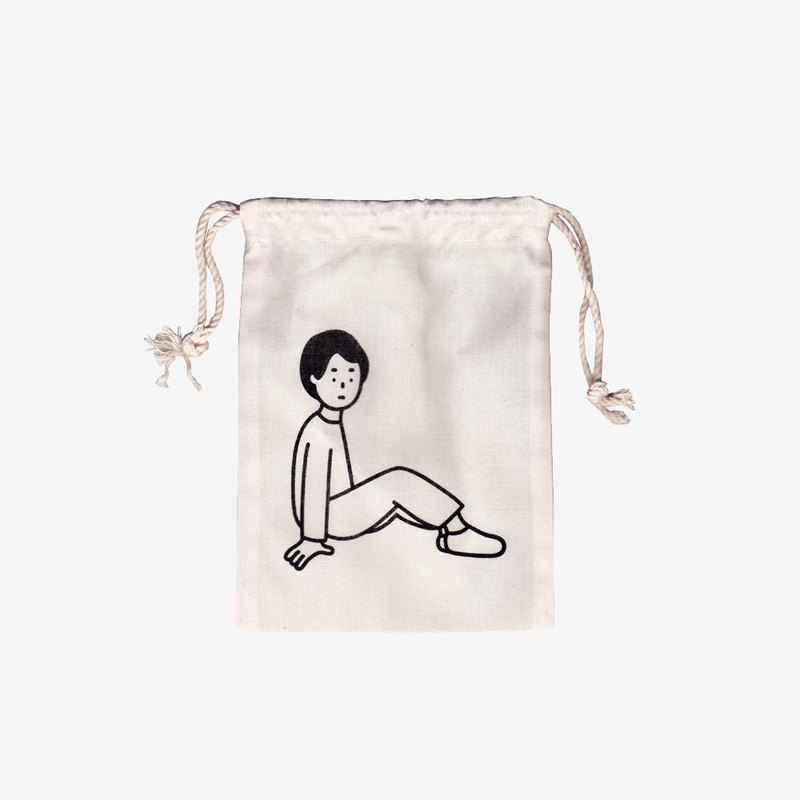 a boy | silk screen printed drawstring pouch