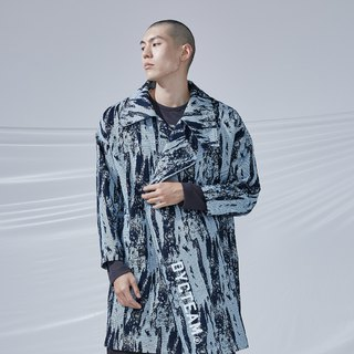 DYCTEAM - Brush Pattern Jacquard Trend Coat 筆刷大翻領大衣