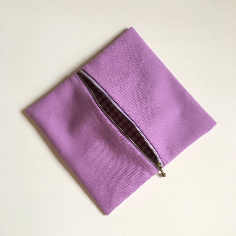 Lavender Canvas Makeup Pouch / Pencil Case
