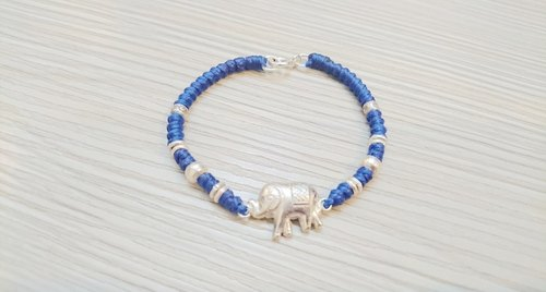 925 sterling silver wax rope bracelet lucky rope bracelet elephant section Lucky