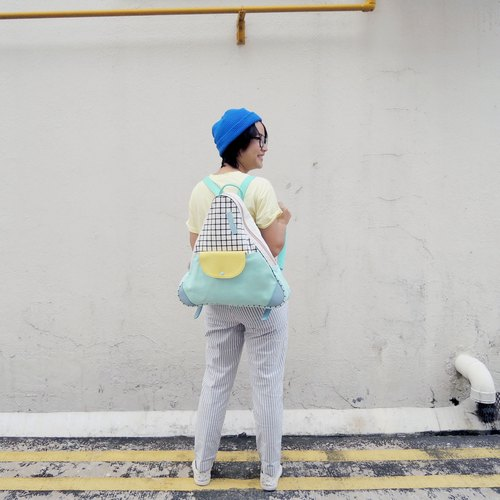 Triangle backpack bag mint colour