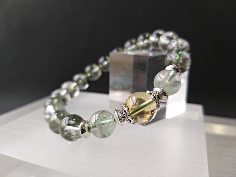 Level - Natural Green Ghost + Clay Ghost + Citrine Sterling Silver Bracelet