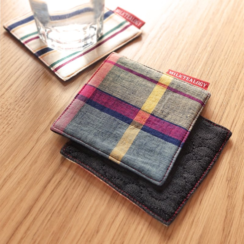 MILKTEALOGY handmade cotton coaster - colorful plaid
