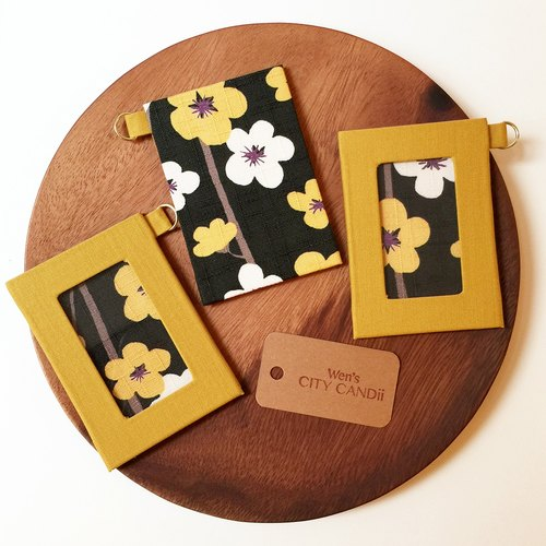 ID Badge Holder / Metro Card Holder   Yellow Plum Blossom