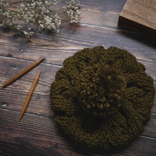 Thick needle twist detachable ball knitted wool beret - olive green