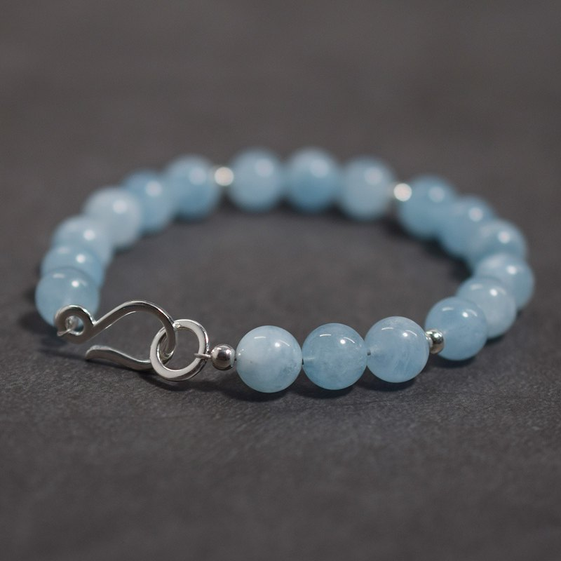 Aquamarine Bracelet Mermaid Treasure VISHI Natural s925 Sterling Silver Crystal Beaded Gift