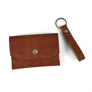 [] U6.JP6 handmade leather - hand-made leather stitched hand sewn coffee color purse / card holder / card holder / Universal package (for men and women) / Key trap set