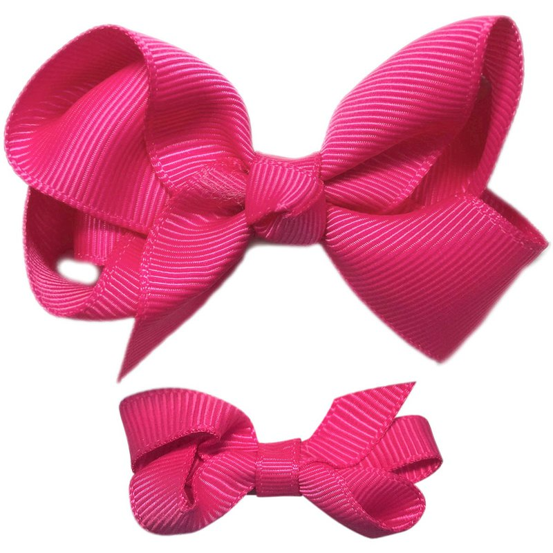 Cutie Bella Bow All Inclusive Handmade Hair Accessories Small and Medium Set 2 Hair Clips - Fuchsia