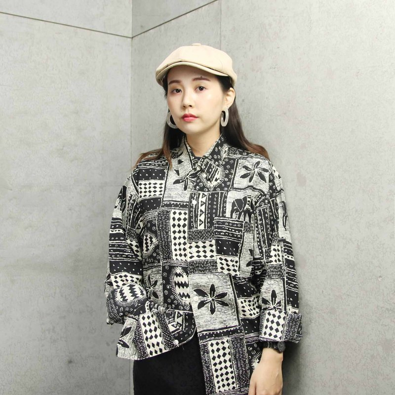 Tsubasa.Y ancient house A01 black and white elephant vintage shirt, flower shirt retro shirt long sleeve