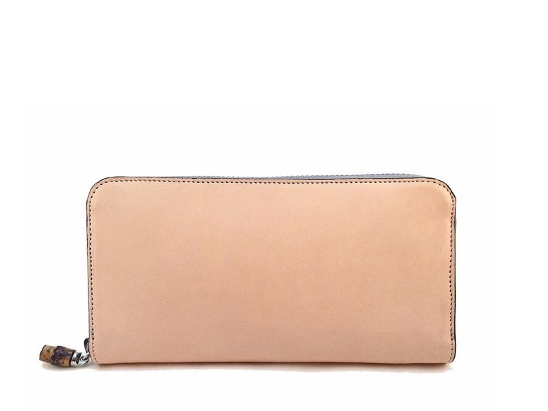 Natural Leather Gray Zip Around Wallet
