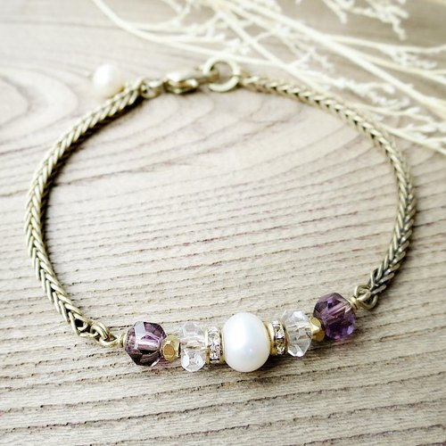 ♦ ViiArt ♦ Zodiac - Cancer ♦ Purple Crystal White Crystal Pearl Brass Bracelet