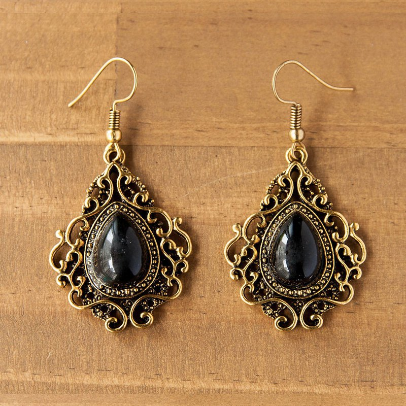 Gorgeous Metal Pierced Earrings-Black