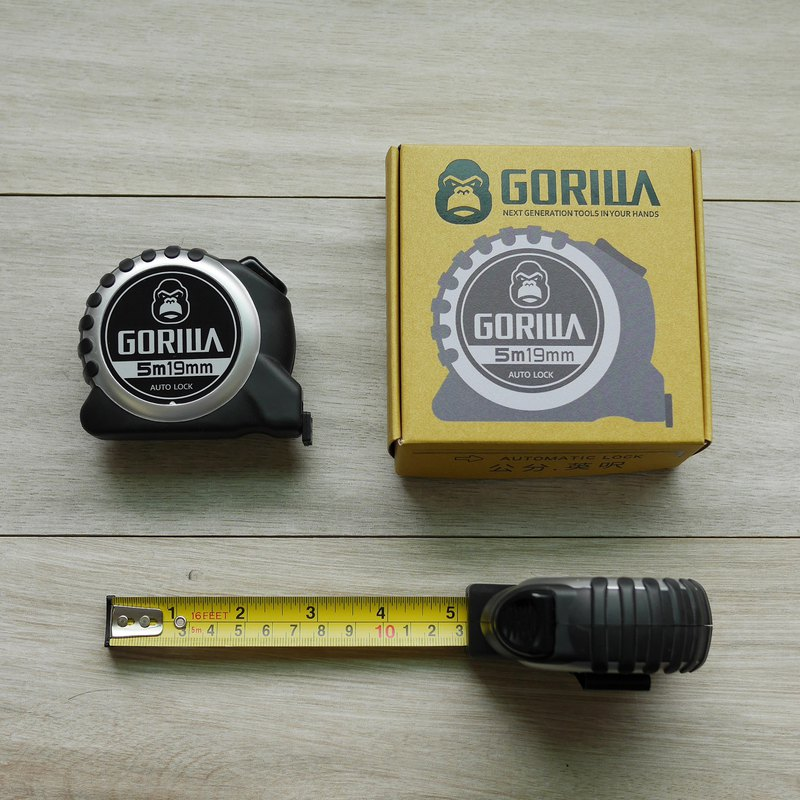 [Gorilla] silver gray five meters automatic brake metric inch tape measure retractable tape steel tape