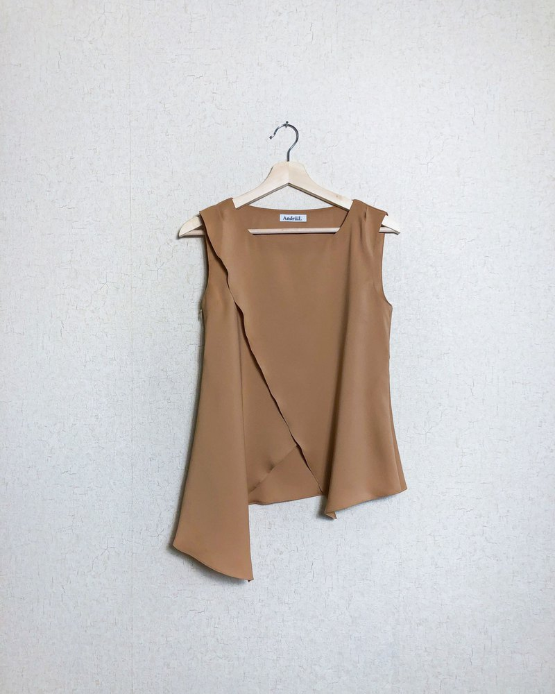 Asymmetric Drape Sleeveless Top