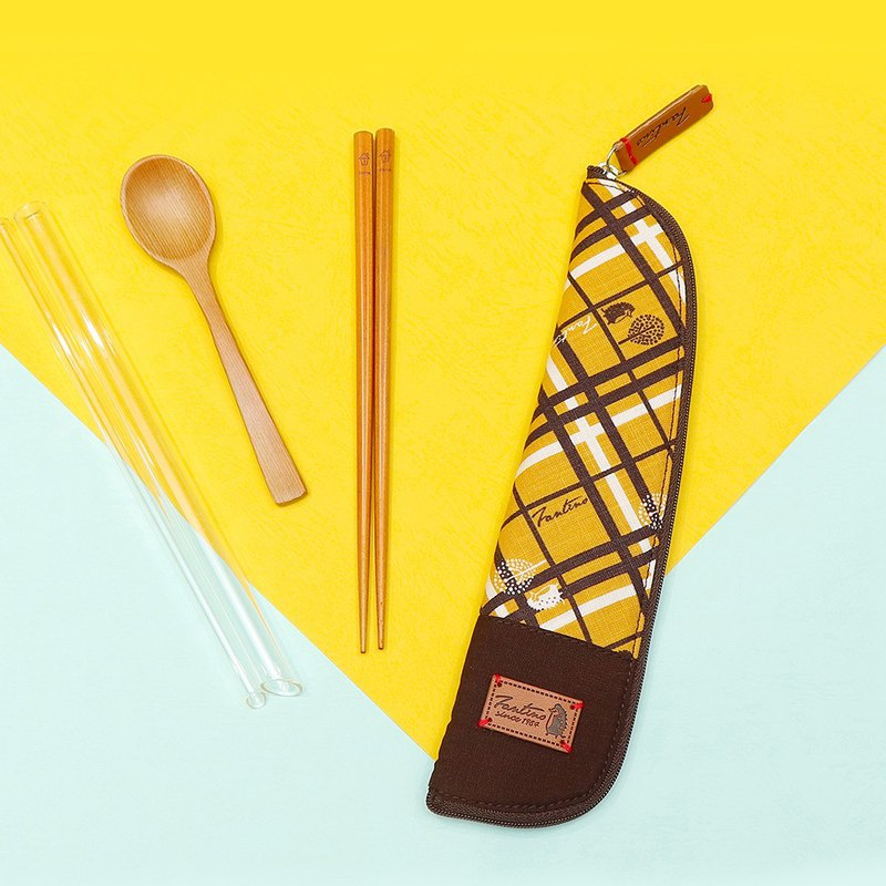 Original cloth cotton tableware bag:: mustard yellow:: (checkered block)