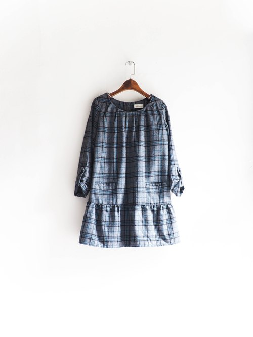 River Water Mountain - Niigata sea blue light gray Plaid girl log Lianny hanky dress neutral Japan overalls oversize vintage