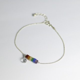 ColorDay Rainbow Natural Stone Sterling Silver Bracelet