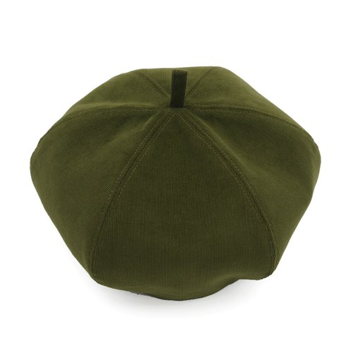 /Handmade beret hat/ Olive green corduroy and warm grey cotton reversible