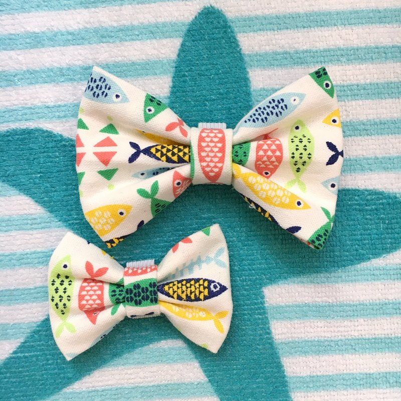 Something Fishy Pet Bowtie Collar - Handmade Dog and Cat Bowtie
