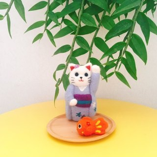 Japanese kimono lucky cat wool felt business card tray jewelry plate change plate multi-function wooden plate decoration