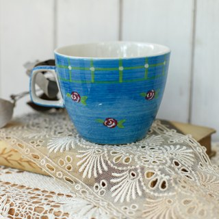 [Good day fetish] Netherlands vintage blue hand-painted pattern ceramic mug