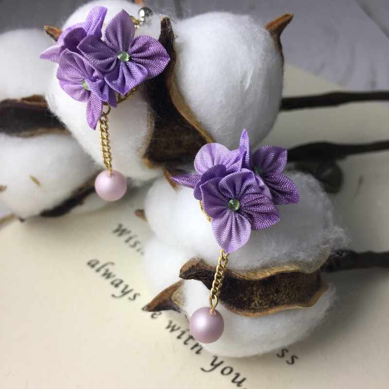 (Hymenoptera) Fine cloth flower purple hanging bead earrings (all 6 colors)
