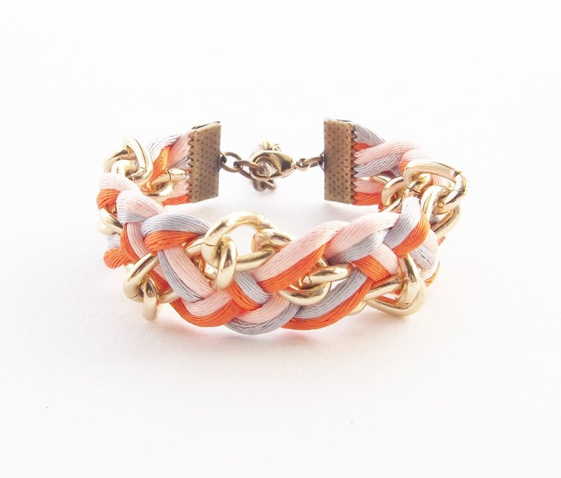 Orange-light gray braided with chain bracelet