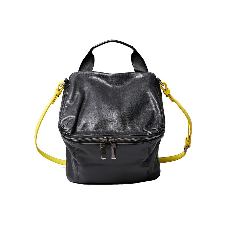 [HANDOS] Pimm's Lightweight Sheepskin Casual Shoulder Bag - Black x Yellow