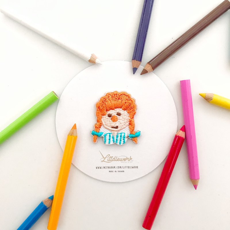 Littdlework Mini Embroidered Badge | Neckline Chapter | Little Girl
