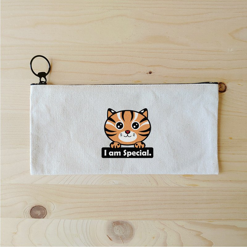 Leopard cat stone tiger flat long storage bag / pencil bag thermal transfer