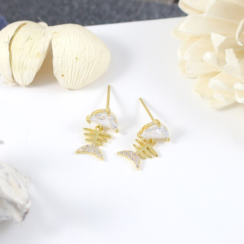 Fish bone crystal earrings earrings Swarovski crystal elements