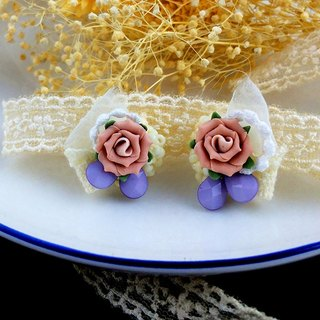 Hanayome Rose earrings handmade ear clip - salmon pink roses