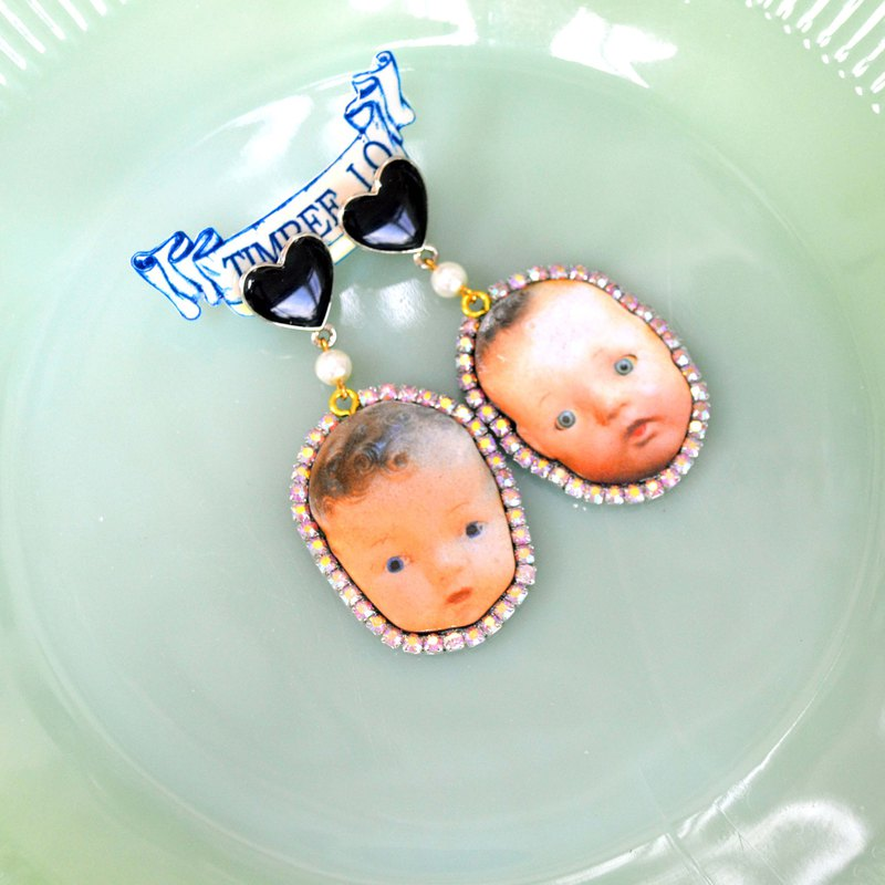 TIMBEE LO wood chip baby doll head earrings with flash diamonds