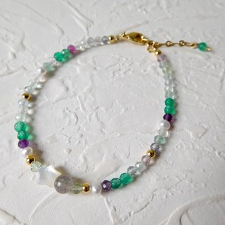 Natural gradient fluorite star bracelet