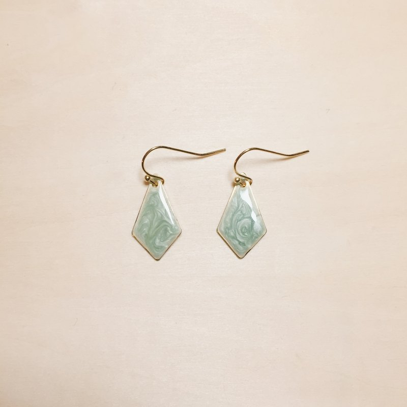 Vintage Green Drop Glazed Diamond Earrings