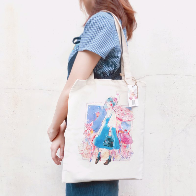 Alice Hobbey sends optional postcard to hand-painted watercolor canvas bag Tote Bag