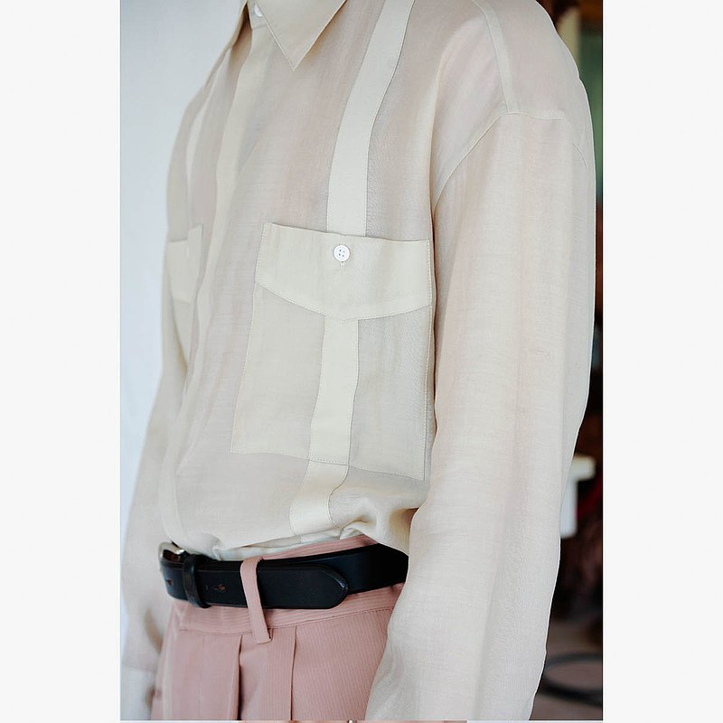 GrainMustard獨立設計師原創男裝 簡約光澤感法式襯衫 復古長袖春