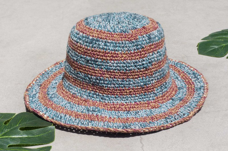 Hand-knit striped cotton hat knit hat fisherman hat sunhat straw hat - blue sky desert travel