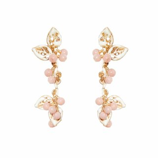 珐琅 natural stone series snow cherry snow cherry 珐琅 earrings / earrings limited pre-order