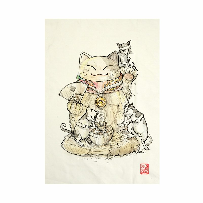 Maineiki Neko Fabric Art  Canvas No frame