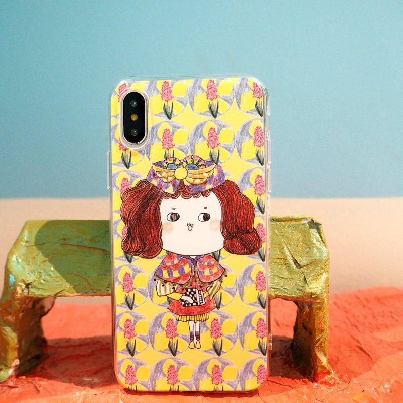 Hyacinth Princess Flower Buns Miss iPhone XS Mobile Shell Matte Fully Wrap Soft Plastic Child Painting